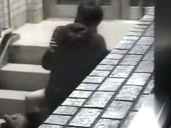 Public voyeur video of an asian couple fucking twice in the street