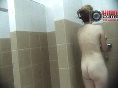 Hot skinny MILF taking a shower on a spy cam xxx video