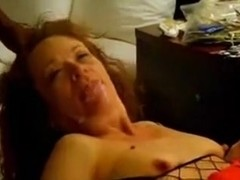 Older redhead with two bbcs