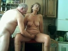 Grandma and grandpa have sex in the kitchen