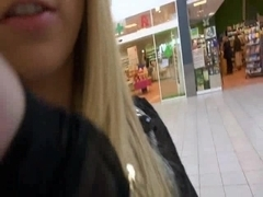 Blond Girl Public Spermawalk Shoping