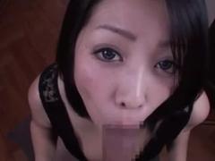 Cute babe sucks dick in a free Japanese porn video