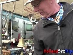 Dutch brunette hooker shows off