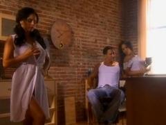 Nasty Latin babes humping one man before facial