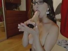 Russian webcam girl wearing glasses
