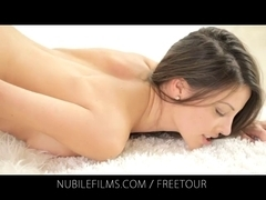 Nubile Films - Erotic brunette hair lesbian babes take up with the tongue and finger every