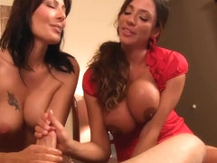 Mom and friend jerk not sons dick WF