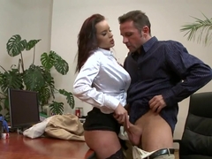 Cindy Dollar gets her big tits and hot pussy banged at the office