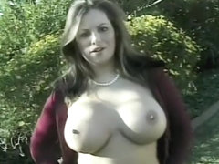 Buxom brunette with a hot ass gets her twat eaten out and pounded hard in the outdoors