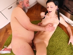 chick sucks an older cock and fucked hard by older duo - OldGoesYoung