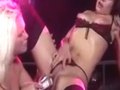 Lesbian Dildo Show On Public Stage