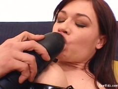 RawVidz Video: Brunette Fucked By Huge Black Toy