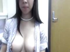 Breasty slut shows her twat online