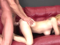 Buxom blonde slut Ashlee gets fucked the way she loves it on the sofa