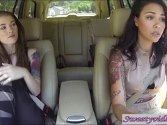 Misha Cross and Dana Vespoli lick eachother's pussy in car