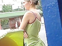 Bewitching golden-haired's palatable ass up petticoat