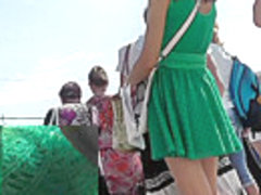 Upskirt outdoor scene filmed at the local bus station