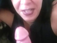 Cocksucker takes big cock in her throat