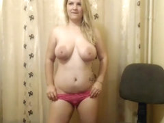 Blonde With Large Tits Dances Around