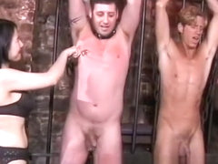Sexy Asian dominas make two studs' wildest fantasies come true