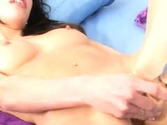 Absolutely stunning brunette cutie uses a glass dildo in her cunt
