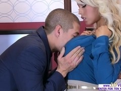 Busty Bridgette enjoys a hardcore fuck in the elevator