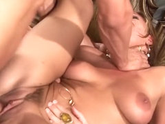 Sensuous blonde with a spicy ass Venus gets double drilled on the bed