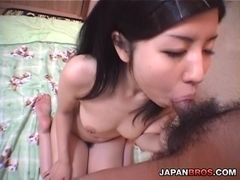 Cunt playing Japanese chick mouth sucking and pumping a stiff dick