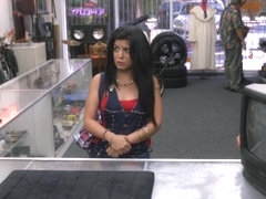 Sexy Cuban chick nailed in the pawnshop for money and her TV
