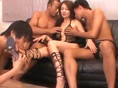 Fabulous Japanese slut Mieko Arai in Amazing Threesomes, Stockings/Pansuto JAV scene