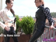 Leather clad lesbo rimmed