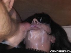 Slutwife Marion eating cum from plenty of guys