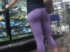 Woman in tight purple spandex pants