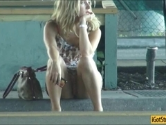 Blonde hottie Dixie Belle banged in a gas station bathroom