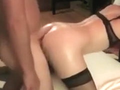 Sexy brunette on chair sucking stiff dick and gets pussy fucked in doggy style