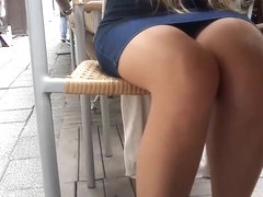 cute yng Gf's sexy legs miniskirt under table