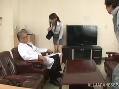Japanese AV Model in an office suit gets fucked in the car