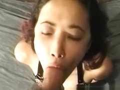 Redheaded Maki gets her cunt filled from behind and sucks him off in POV