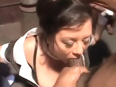 Nasty chick Debella enjoys taking in a huge black dong outdoors