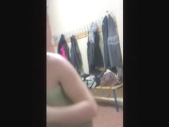 Sexy gymnast is flashing nudity in the changing room
