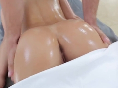 Sexy busty pornstar gets an erotic massage and a gigantic cock