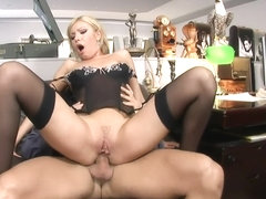 Gorgeous blonde Donna Bell wears black lingerie and gets buttfucked