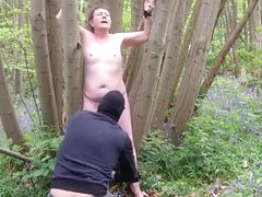 Mature Tiny Tit Slut Tied Stripped  Humiliated in the Woods