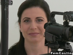 Female agent in lingerie fucks brunette