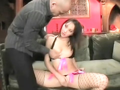 Luscious Asian girl in fishnet stockings takes a hard dick in her ass