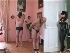 Mistress dominates more than one slave in collars