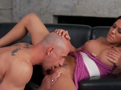 Muscular Barry Scott getting a blowie before a fuck on the couch