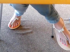 Candid Asian Teen Library Feet in Sandals 2