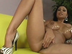 Oily tanned slut goes wild as her lover pounds her tight pussy