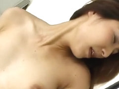Buxom Japanese slut gets her cunt fingered and delivers a nice blowjob